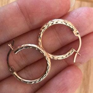 14k SOLID 2cm Rose🌹Gold Diamond Cut Hoop Earrings